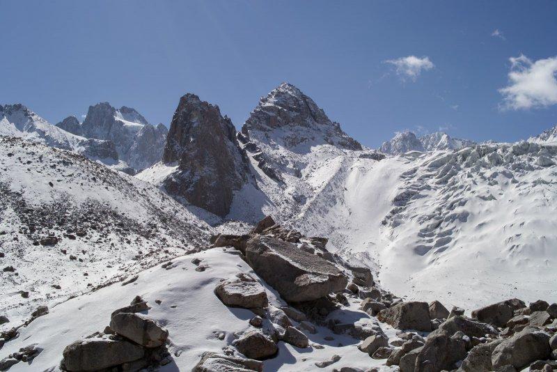 вид на ледник Аксай, Рацека и Корону