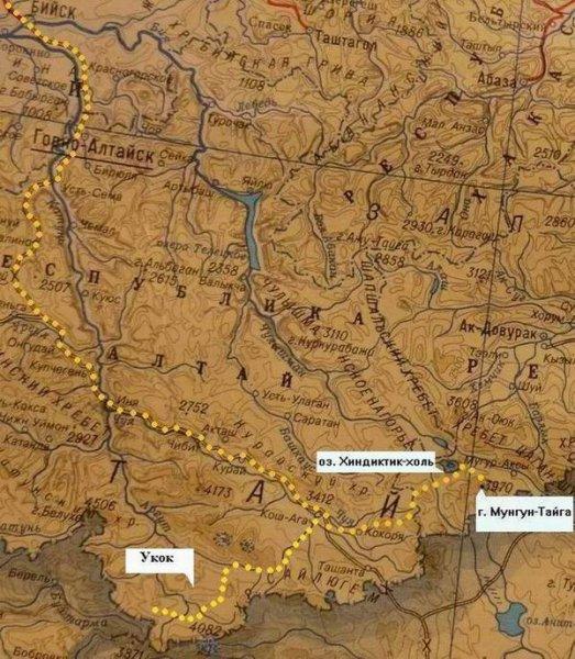 Схема путешествия по Южному Алтаю